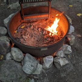 Starting our fire.