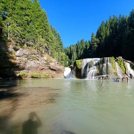 Below the lower falls. Tons of space to hang out and swim