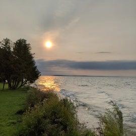 Morning sunrise over Straits of Mackinac