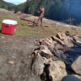 Breaking down wood for the fire