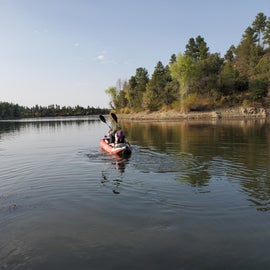 Kayaking on the lake from the south boat ramp