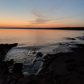Dawn on the campground shoreline