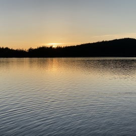 Cascade Lake across from campground at sunset