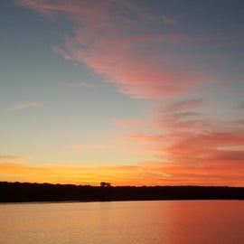 view of sunset over Lake Meridian at Site 31