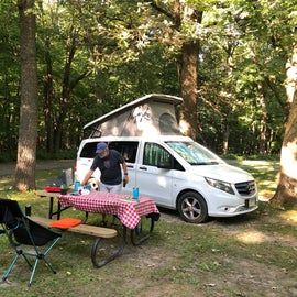 The tent sites were much more generous in size than the RV sites (but not always level)