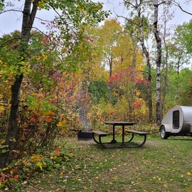 Plenty of space for tents, small trailers, and even small rvs. Tucked back in the trees!