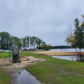 (Huge rain storm caused standing water.) My kids loved this little playground!