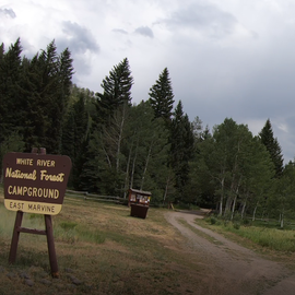 Entrance to East Marvine Campground on the left