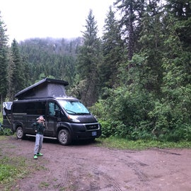 Parking pad.  Good bear box, fire ring, and picnic table out of sight. Site 009B.
