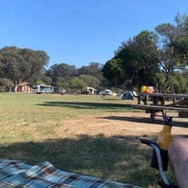 View across grassy center field