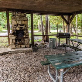 Cute picnic shelter in the center of the campground.