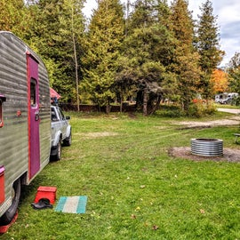 While the rest of the campground is packed in like sardines, this site was off by itself.  It pays to go solar, as it had no hook-ups.