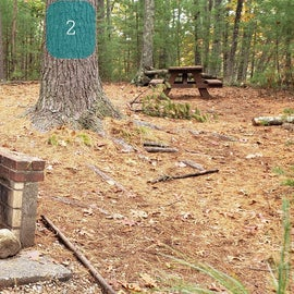 Site 2 Rocky Woods has a weird layout...the firepit is tucked away on the side