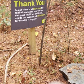 REI donation and volunteers at work. Also, a lot of landscape restoration throughout the reservation, not just here.