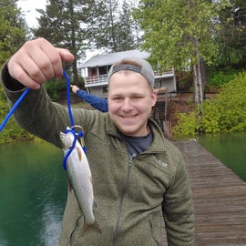 A fish caught from the dock