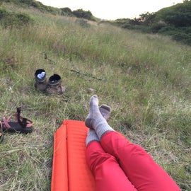 My setup in the meadow.  Tent wasn't even necessary, it was soo nice!