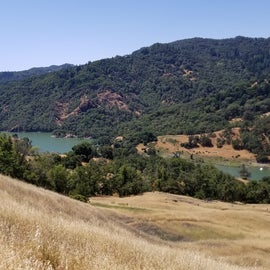 Hiking trail and view of lake