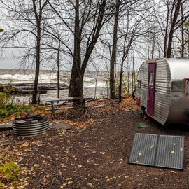 Lakeside campsites are beautiful, but the pounding shore can be very loud at times.