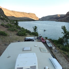 The view upstream - the Snake River, from the top of our RV