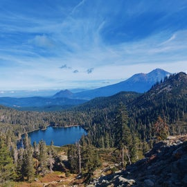 the view of Castle Lake from Hear Lake, with Mt Shasta in the background.
