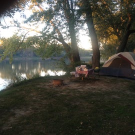 Tent site by the Wabash river