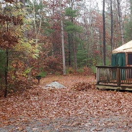 One of the yurts. Campfire and grill area. Accessible ramp. Section 2