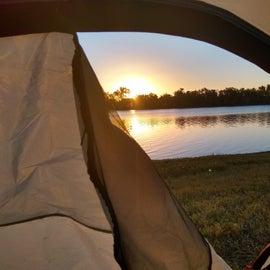 Sunrise through the tent flap