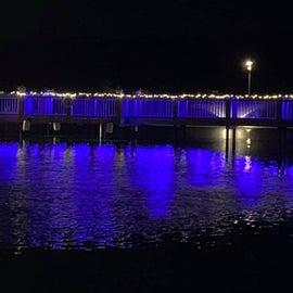 Bridge over the lake at night