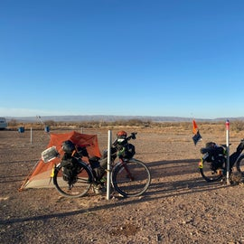 Bike camping in the RV lot