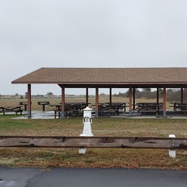 Picnic pavilion, near the safari field for 20-75 RVs