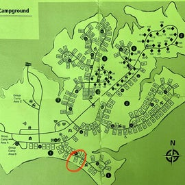 Campsite map (I stayed at #12)