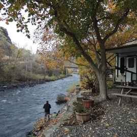 Our campsite along the Little Salmon River - Looking upriver