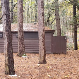 Recycling and bathrooms.  Willard Brook State Forest,  Bathrooms under renovation autumn 2020