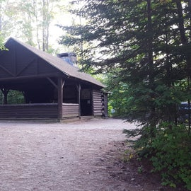 The pavilion is a great place for group activities. There is a beautiful stone fireplace that was built by the CCC