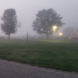 Foggy morning looking over the campground