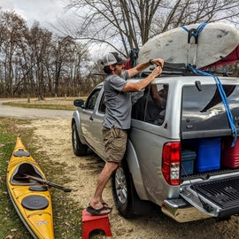 Getting ready for a paddle around the lake.