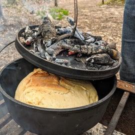 Baking sourdough bread on the fire!