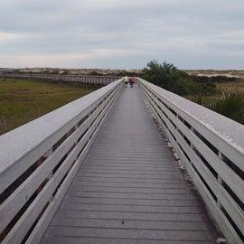 Long boardwalk to the beach