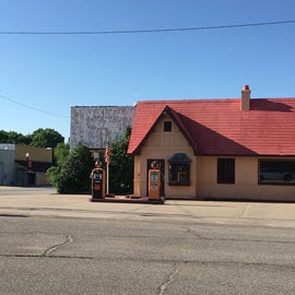 A restored gas station is the visitors center in town.