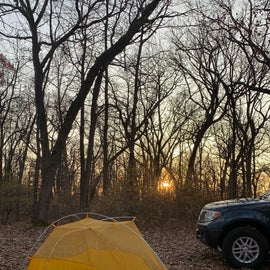 My campsite on my second night after hiking on the Ice Age Trail.