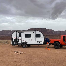 Our rig - start of set up at our site