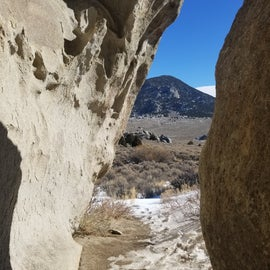 Climbing among the rock structures at City of Rocks National Preserve