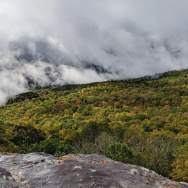 We arrived the day after a large storm rolled through, so the low cloud cover was still in place. It was beautiful though. This photo was taken from the Visitor's center area. I'm telling you, if you just want the views skip the hikes. The best views in the park are right here.