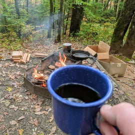 Not much better than campfire coffee and breakfast cooked over the fire.