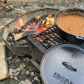 Some campfire chili simmering away, waiting on some hotdog roasting later that evening.