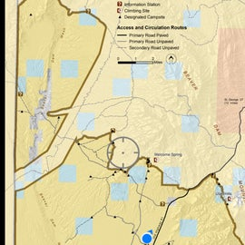 BLM map showing the area and the designated dispersed camp areas