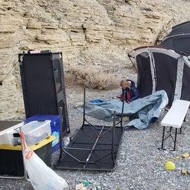 Wind blown campsite