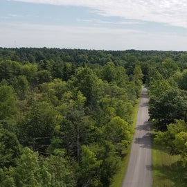 Looking at the lake and road to the campground from the fire tower.