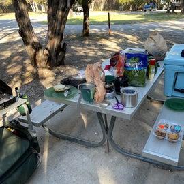 Camp kitchen making breakfast.