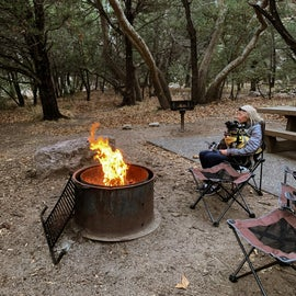 Campsite on a cold evening.